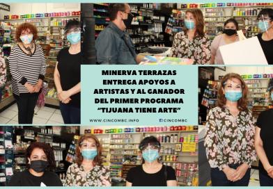 """MINERVA TERRAZAS ENTREGA APOYOS A ARTISTAS Y AL GANADOR DEL PRIMER PROGRAMA """"TIJUANA TIENE ARTE"""""""