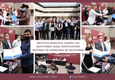 INSTITUTO MUNICIPAL CONTRA LAS ADICCIONES LOGRA CERTIFICACIÓN NACIONAL DE CONSEJERÍA EN ADICCIONES