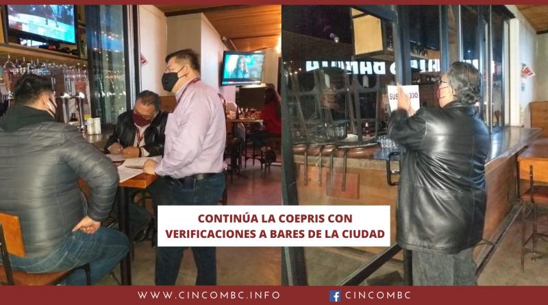 CONTINÚA LA COEPRIS CON VERIFICACIONES A BARES DE LA CIUDAD