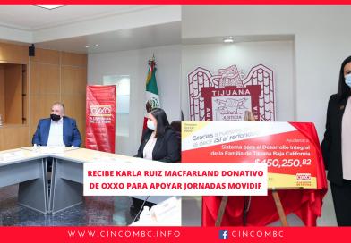 RECIBE KARLA RUIZ MACFARLAND DONATIVO DE OXXO PARA APOYAR JORNADAS MOVIDIF