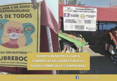 EXHORTA MUNICIPIO A USAR EL CUBREBOCAS EN LUGARES PÚBLICOS, PLAZAS COMERCIALES Y SOBRERUEDAS